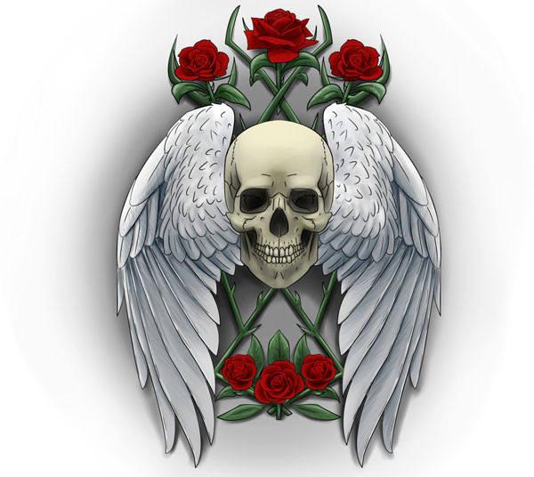 Wings Skull and Roses