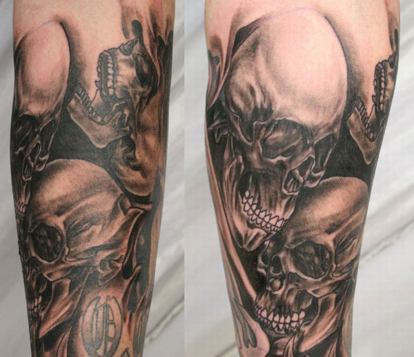 sleeve skull tattoo 15 Atrocious Skull Tattoos