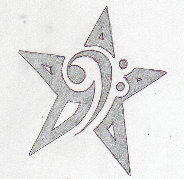 Bass Clef Star Tattoo