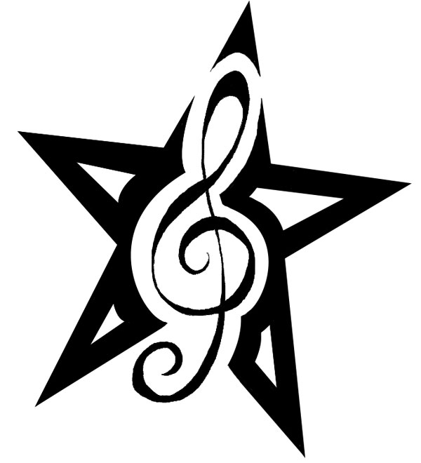 Treble Clef Star Tattoo