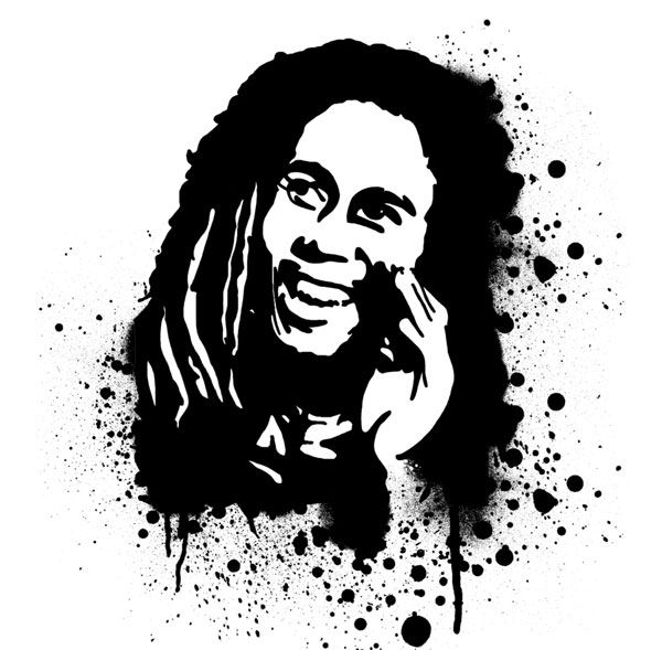 bob marley stencil 15 Cool Drawings Drawn Using Free Stencils
