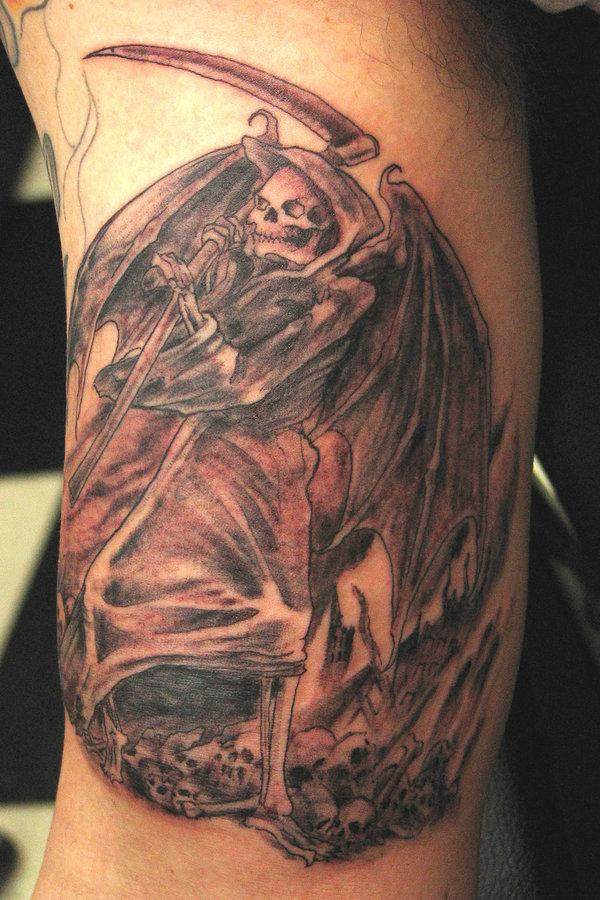 Scary angel of death tattoo