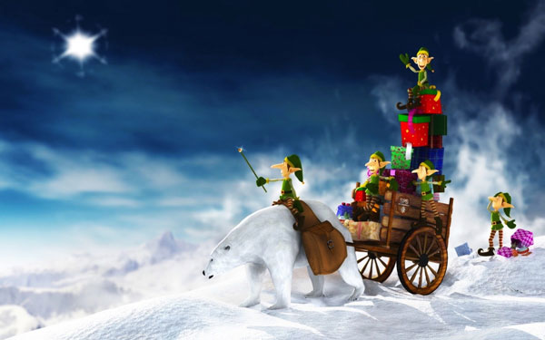 christmas elfs gift 30 Heavenly Christmas Wallpaper Collection