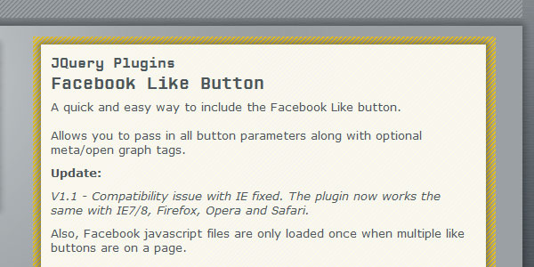 facebook like button 25 Plugins for jQuery Facebook