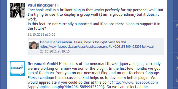 facebook wall 25 Plugins for jQuery Facebook