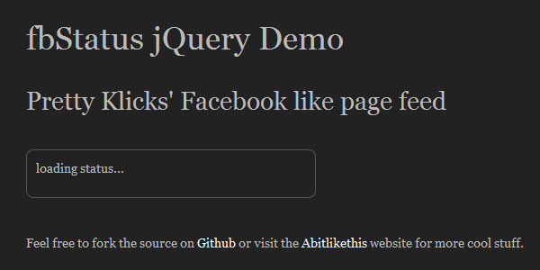 fbstatus 25 Plugins for jQuery Facebook