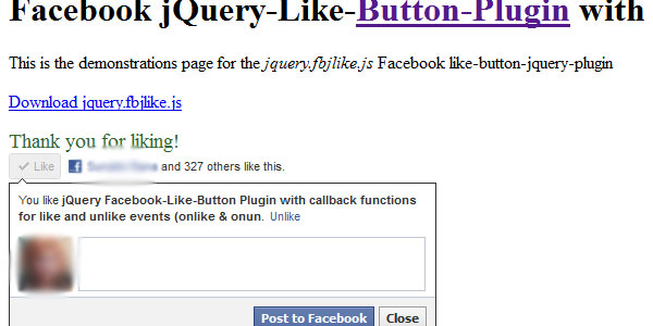 like button facebook 25 Plugins for jQuery Facebook