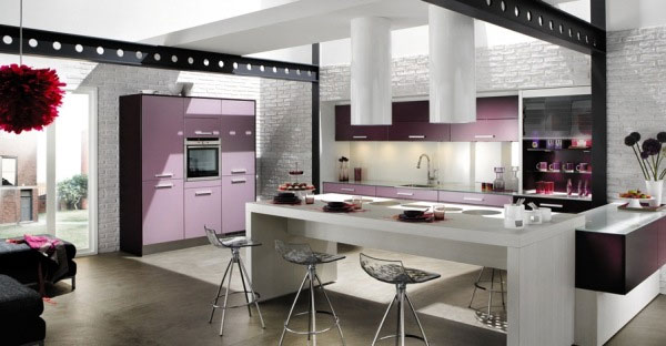 kitchen purple accent 30 Superb Kitchen Cabinets Design
