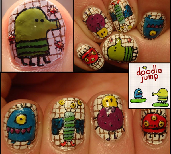 doodle jump nail art 25 Really Beautiful Nail Art Designs