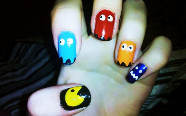 pacman nail art 25 Really Beautiful Nail Art Designs