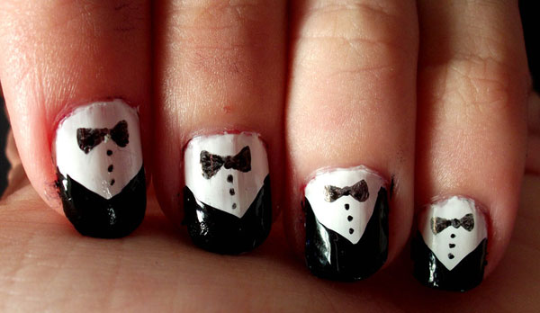 tuxedo nail art 25 Really Beautiful Nail Art Designs