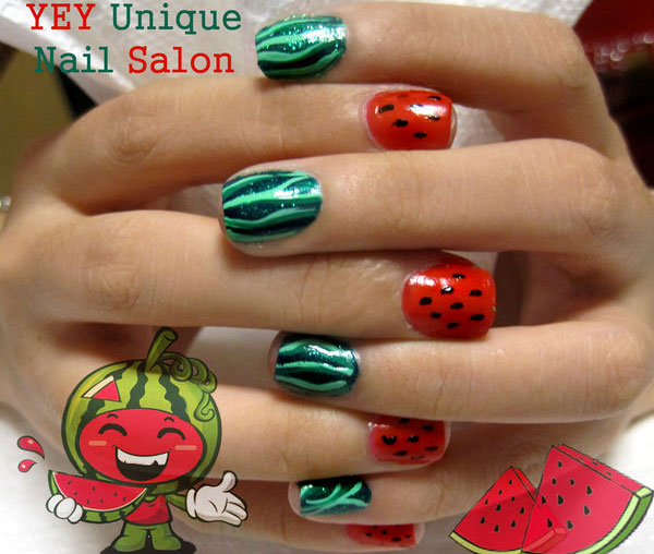 water melon nail 25 Really Beautiful Nail Art Designs