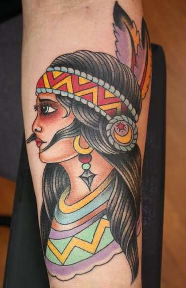 Native American forearm tattoo