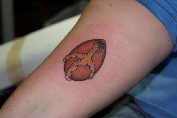 Brown Egg Chicken Foot Peace Sign Tattoo