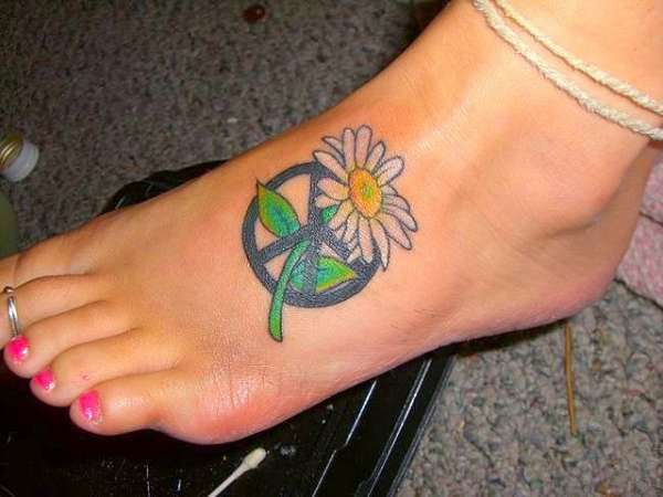peace flower foot tattoo 15 Best Peace Sign Tattoos
