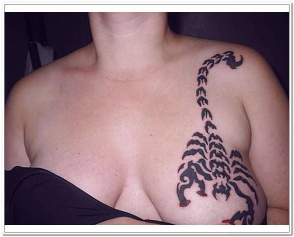 scorpion breast tattoo 20 Spine Chilling Scorpion Tattoos