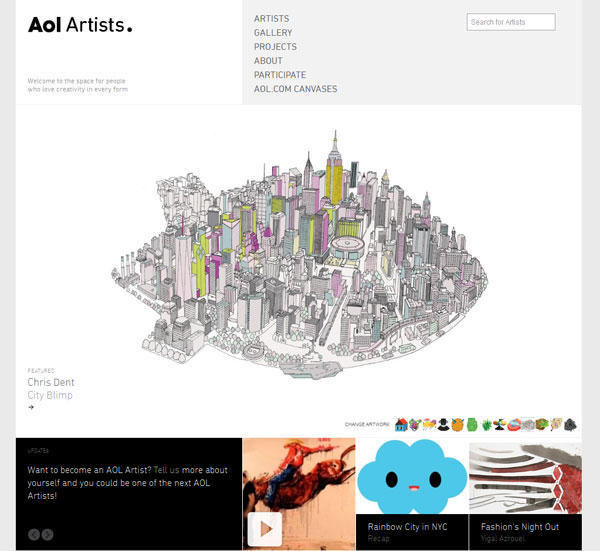 aolartists 15 Awesomely Unique Websites