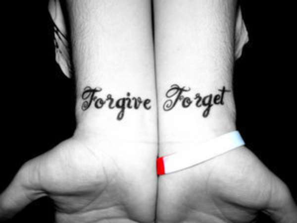 forget forgive wrist tattoo 25 Enticing Word Tattoos