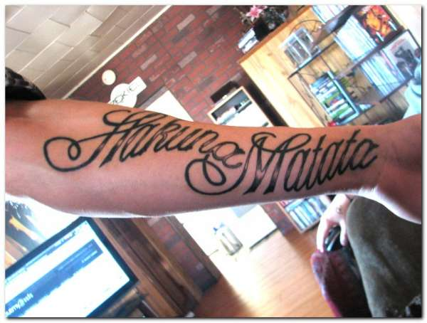 hakuna matata tattoo 25 Enticing Word Tattoos
