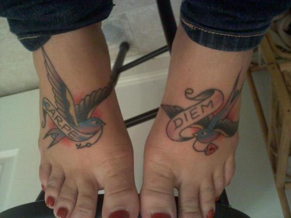 Toe Blue Bird Tattoo For Female