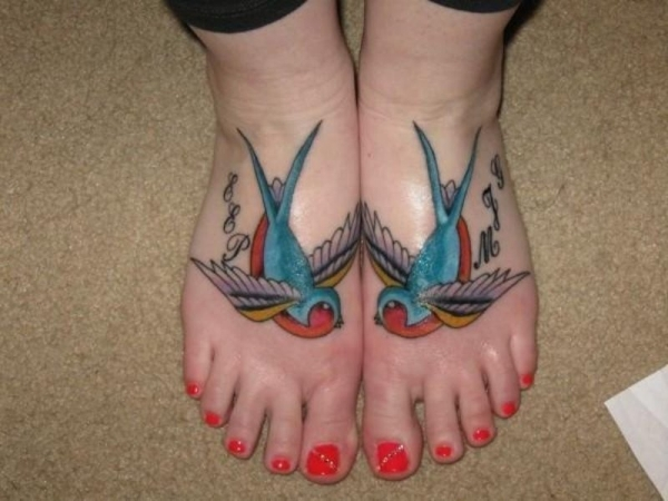 Toe Swallow Tattoo For Female
