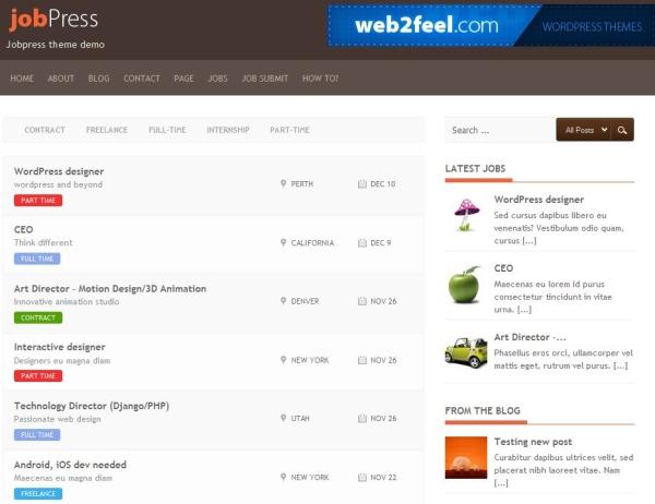 jobpress 60 Free Premium WordPress Themes Of All Time