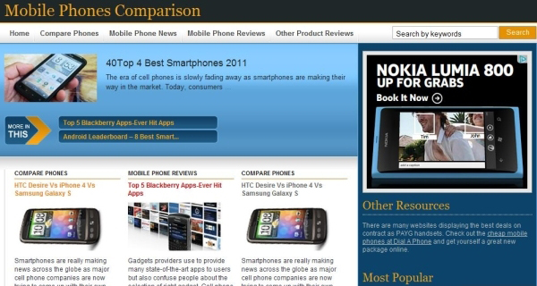 mobile phones comparison 35 Free Business WordPress Themes Which Are Awesome
