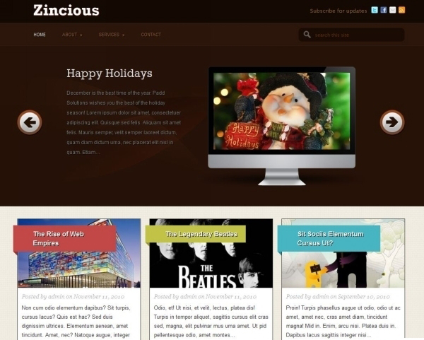 wordpress theme zincious 35 Free Business WordPress Themes Which Are Awesome