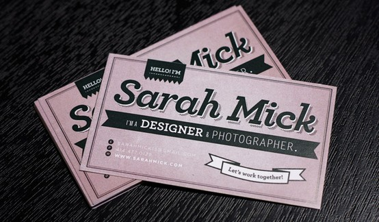 sarah mick designer and photographer 20 Cool Business Cards For Designers