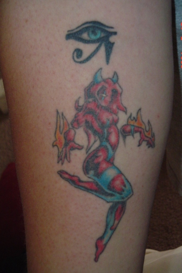 color demon tattoo 15 Scary Demon Tattoos