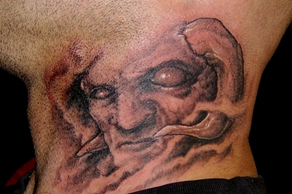 Demon Neck Tattoo