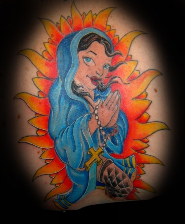 Animiated Virgin Mary Tattoo