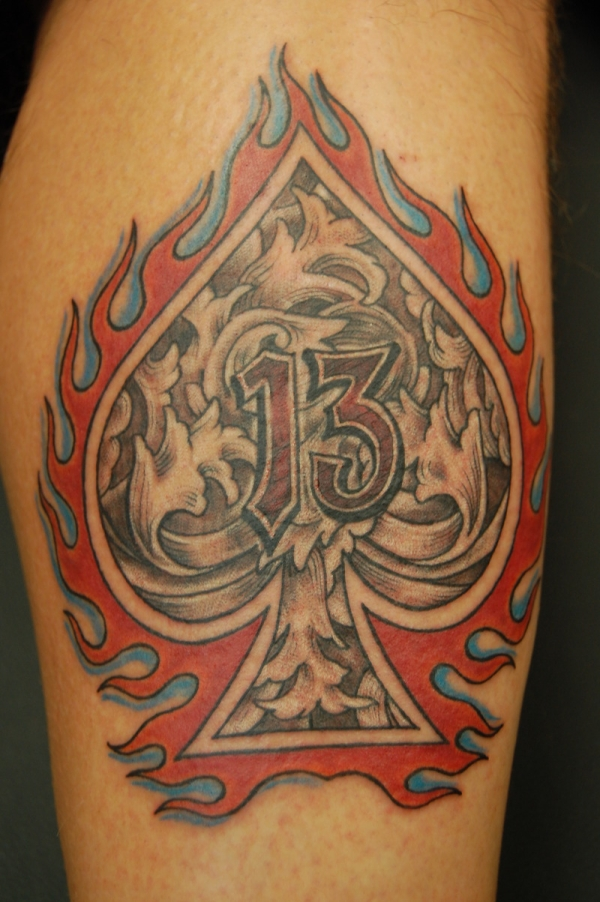 spade on fire tattoo 50 Free Tattoo Designs Which Are Awesome