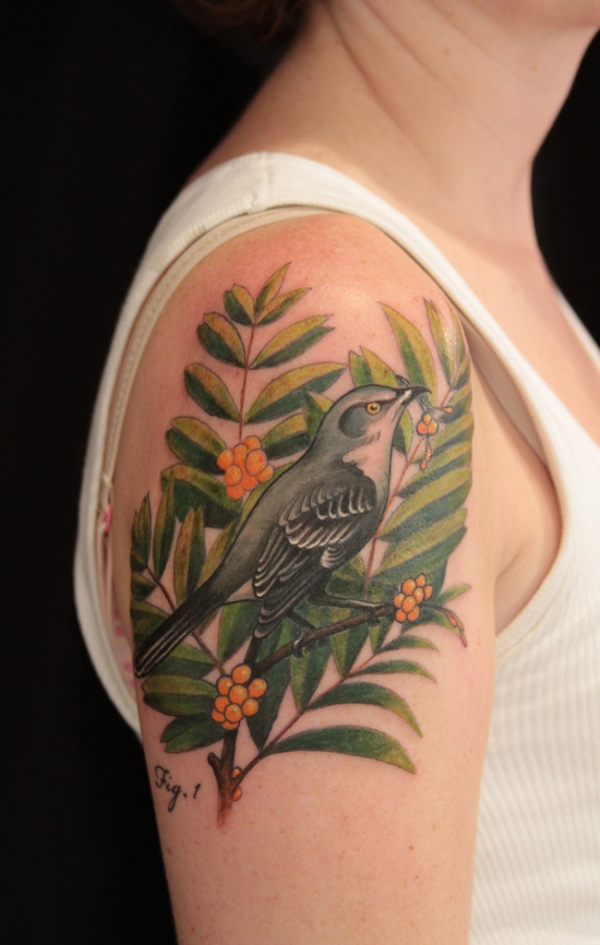 Bird In A Bush Tattoo