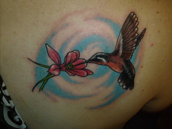 Flower Bird Tattoo