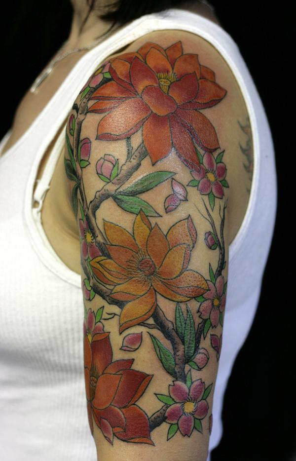 flowery half sleeve 20 Half Sleeve Tattoo Designs