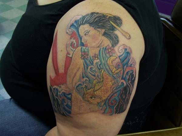 geisha half sleeve 20 Half Sleeve Tattoo Designs