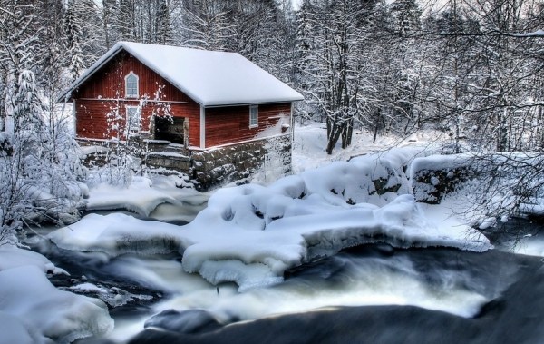 Snow Covered Wood House