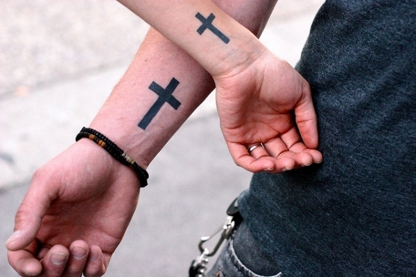 holy cross couple tattoo 25 Groovy Matching Tattoos