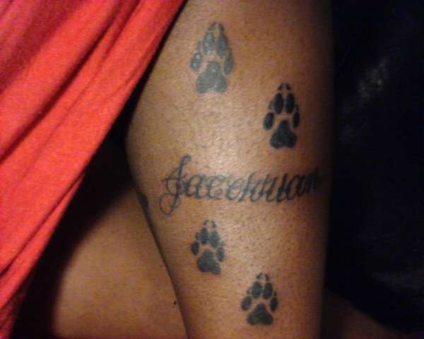Name And Paw Prints Tattoo