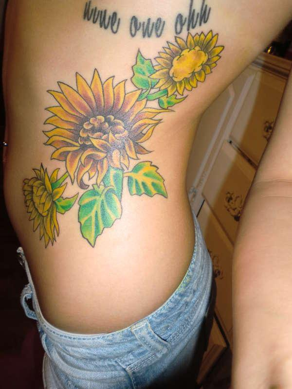 Sunflowers Rib Tattoo