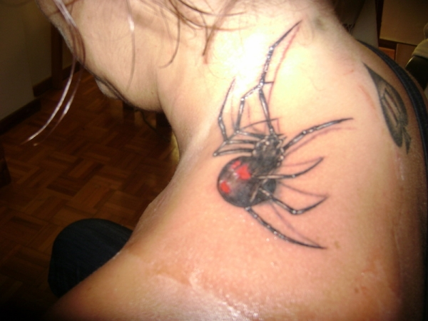 neck spider tattoo 20 Scary Spider Tattoos