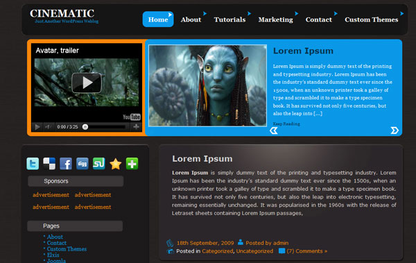 cinematic 12 Top Free WordPress Video Themes