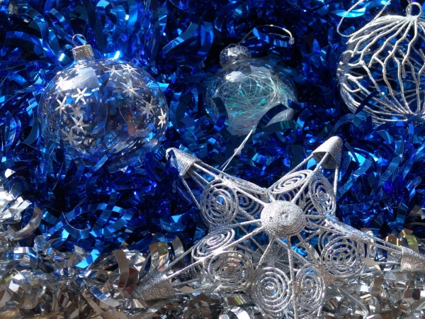 Silver And Blue Ornaments