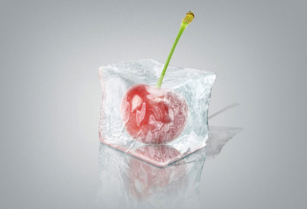 Ice Cube with cherry inside