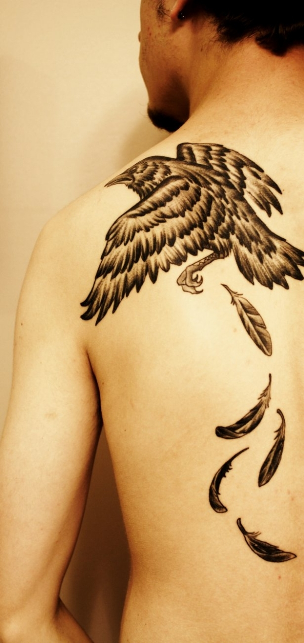 crow feather 25 Adorable Feather Tattoos