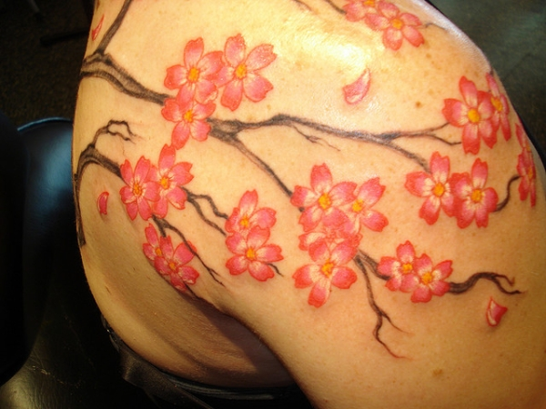 cherry blossoms 20 Girly Tattoos You Would Simply Love