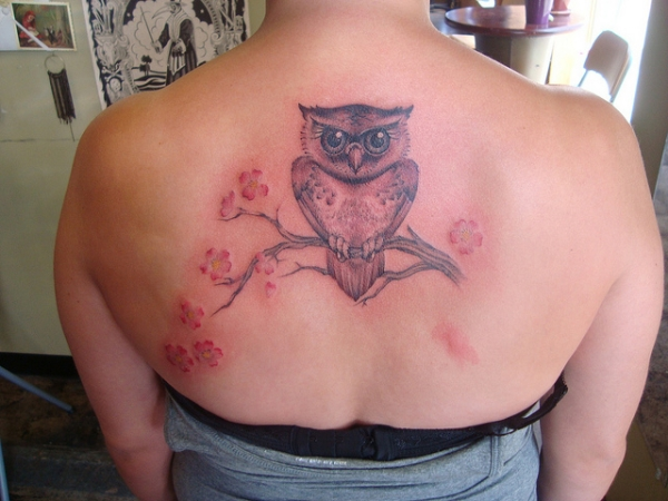 owl and flowers 20 Girly Tattoos You Would Simply Love