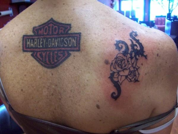 colored harley logo 35 Groovy Harley Davidson Tattoos
