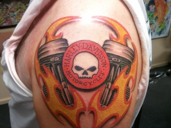 Harley Davidson Colorful Tattoo